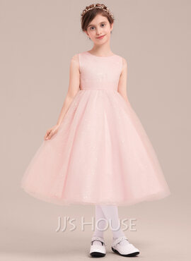 A-Line/Princess Tea-length Flower Girl Dress - Tulle Sleeveless Scoop Neck With Bow(s) (010143258)
