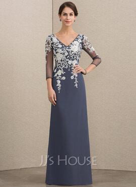 A-Line/Princess V-neck Floor-Length Chiffon Lace Mother of the Bride Dress (008164076)