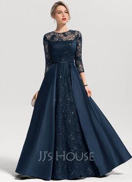 A-Line/Princess Scoop Neck Floor-Length Satin Evening Dress With Sequins (017153631)