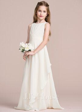 A-Line Scoop Neck Floor-Length Chiffon Junior Bridesmaid Dress With Cascading Ruffles (009095087)