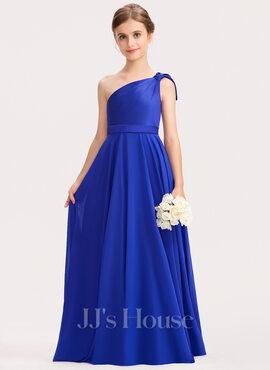 A-Line One-Shoulder Floor-Length Chiffon Charmeuse Junior Bridesmaid Dress With Ruffle (009191726)