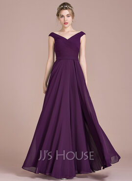 A-Line Off-the-Shoulder Floor-Length Chiffon Prom Dresses With Ruffle (018112841)