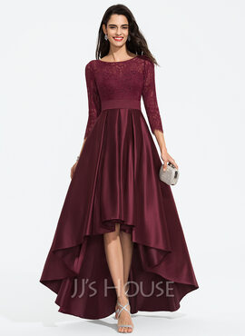 A-Line Scoop Neck Asymmetrical Satin Prom Dresses With Bow(s) (018187190)