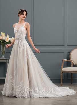 Ball-Gown/Princess Illusion Chapel Train Tulle Wedding Dress With Sequins (002153425)