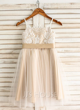 A-Line Square Neckline Knee-Length Tulle Junior Bridesmaid Dress With Sash Bow(s) (009126273)