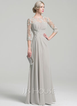 A-Line Scoop Neck Floor-Length Chiffon Mother of the Bride Dress With Ruffle (008091967)