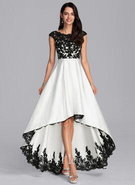 A-Line Scoop Neck Asymmetrical Satin Evening Dress (017198660)