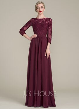 A-Line Scoop Neck Floor-Length Chiffon Lace Mother of the Bride Dress With Ruffle Beading Sequins (008107651)