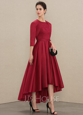 A-Line Scoop Neck Asymmetrical Satin Lace Mother of the Bride Dress With Sequins (008179215)