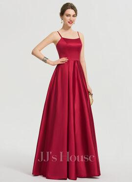 A-Line Square Neckline Floor-Length Satin Prom Dresses (018192332)