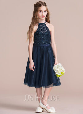 A-Line Scoop Neck Knee-Length Tulle Junior Bridesmaid Dress With Beading Sequins (009095092)