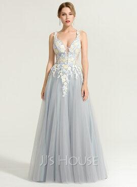 A-Line/Princess V-neck Floor-Length Tulle Evening Dress (017167680)