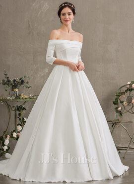 Ball-Gown/Princess Off-the-Shoulder Court Train Satin Wedding Dress (002187041)