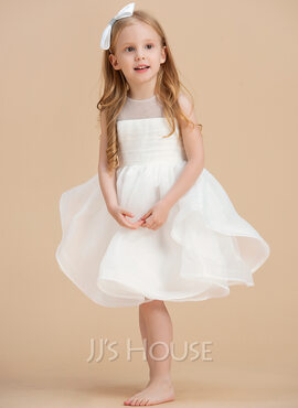 Ball-Gown/Princess Knee-length Flower Girl Dress - Organza Sleeveless Scoop Neck With V Back (010192420)