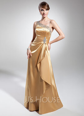 A-Line One-Shoulder Floor-Length Charmeuse Evening Dress With Ruffle Beading Sequins (017014689)