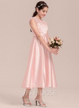 A-Line Scoop Neck Tea-Length Satin Junior Bridesmaid Dress (009130618)