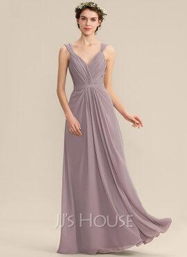 A-Line V-neck Floor-Length Chiffon Bridesmaid Dress With Ruffle (007165856)