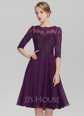 A-Line Scoop Neck Knee-Length Chiffon Lace Mother of the Bride Dress With Sequins (008131931)