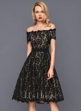 A-Line Off-the-Shoulder Knee-Length Lace Cocktail Dress (016140374)