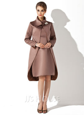 Sheath/Column Scoop Neck Knee-Length Satin Mother of the Bride Dress (008005678)