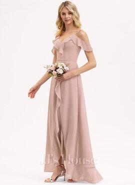 A-Line V-neck Asymmetrical Chiffon Bridesmaid Dress With Cascading Ruffles (007206487)