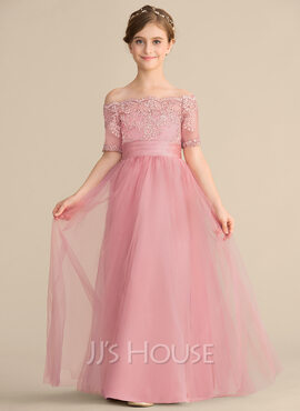 A-Line Off-the-Shoulder Floor-Length Tulle Lace Junior Bridesmaid Dress With Bow(s) (009165008)