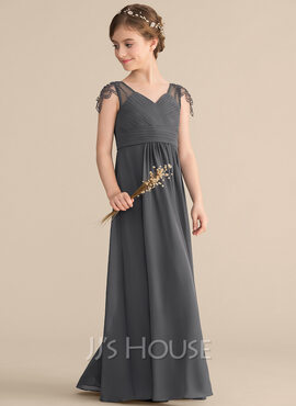 A-Line V-neck Floor-Length Chiffon Junior Bridesmaid Dress With Ruffle Beading (009165039)