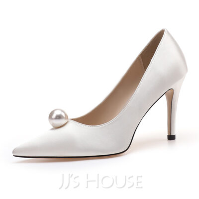 Women's Cloth Stiletto Heel Pumps With Pearl