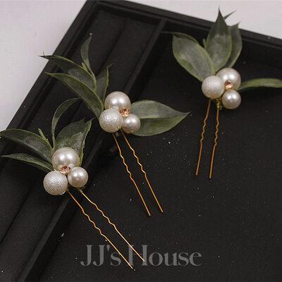 Romantisk Rhinestone Hårnåler med Venetianske Perle Sett Av 6