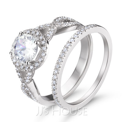 Intertwined Side Stones Round Cut 925 Silver Bridal Sets