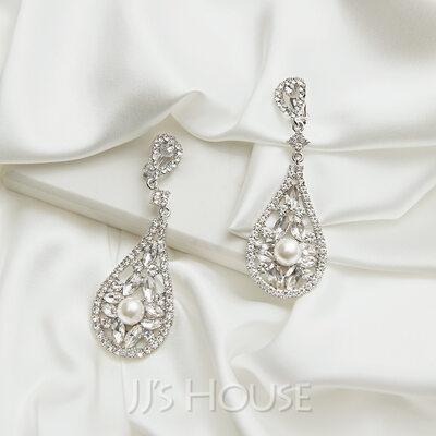Charming Pearl/Zircon Ladies' Earrings