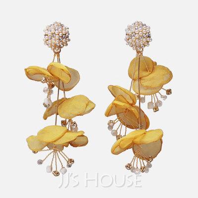 Ladies' Beautiful Rhinestones/Artificial Silk Nrop Earrings Earrings