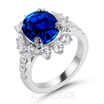 Halo Unik Safirblå Oval Cut 925 sølv Forlovelsesringer