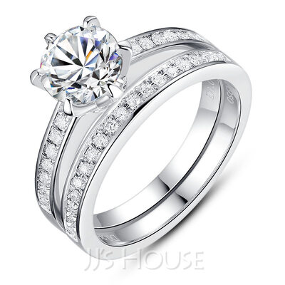 Halo Stackable Round Cut 925 Silver Bridal Sets
