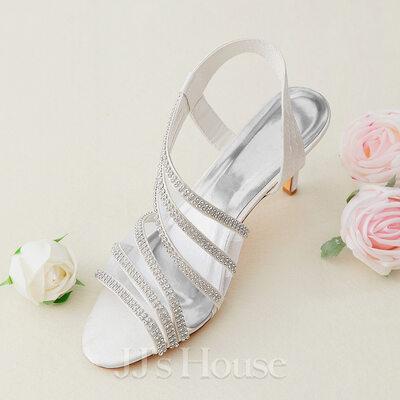 Women's Silk Like Satin Stiletto Heel Peep Toe Sandals With Crystal