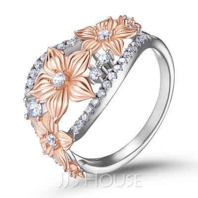 Blomstrete To toner Round Cut 925 sølv Kvinners band
