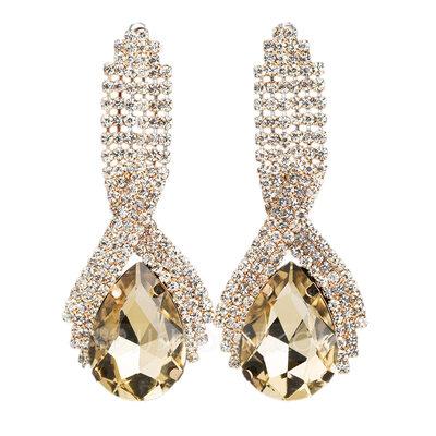 Classic Alloy Rhinestone Earrings For Bride