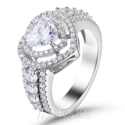 Halo Side steiner Hjertesnitt 925 sølv Forlovelsesringer
