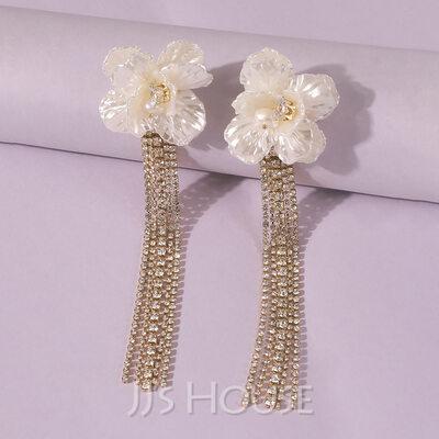 Fashionable Alloy/Resin Rhinestone/Tassels Earrings