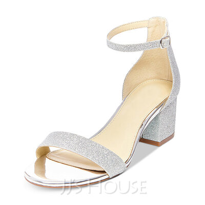 Women's Leatherette Sparkling Glitter Chunky Heel Sandals Mary Jane With Buckle