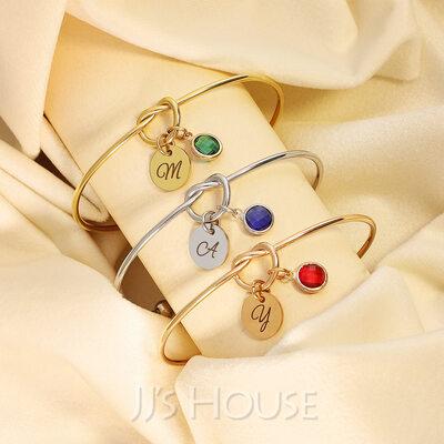 Custom Bangle Birthstone Bracelets With Birthstone -