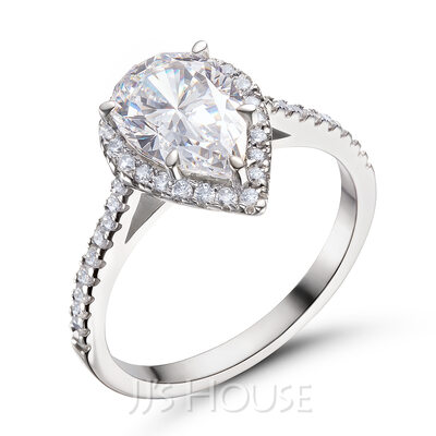 Halo Pæresnitt 925 sølv Forlovelsesringer