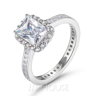Side Stones Emerald Cut 925 Silver Engagement Rings