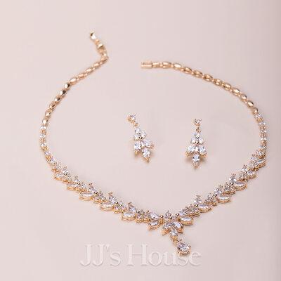 Ladies' Elegant Copper/Zircon Cubic Zirconia Jewelry Sets For Bride