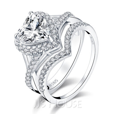 Stackable Heart Cut 925 Silver Bridal Sets