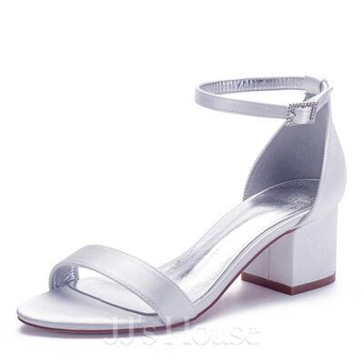 Women's Silk Like Satin Chunky Heel Peep Toe Sandals With Buckle