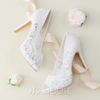 Women's Lace Stiletto Heel Peep Toe Platform Sandals