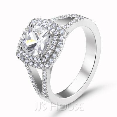 Halo Cushion Cut 925 Silver Engagement Rings