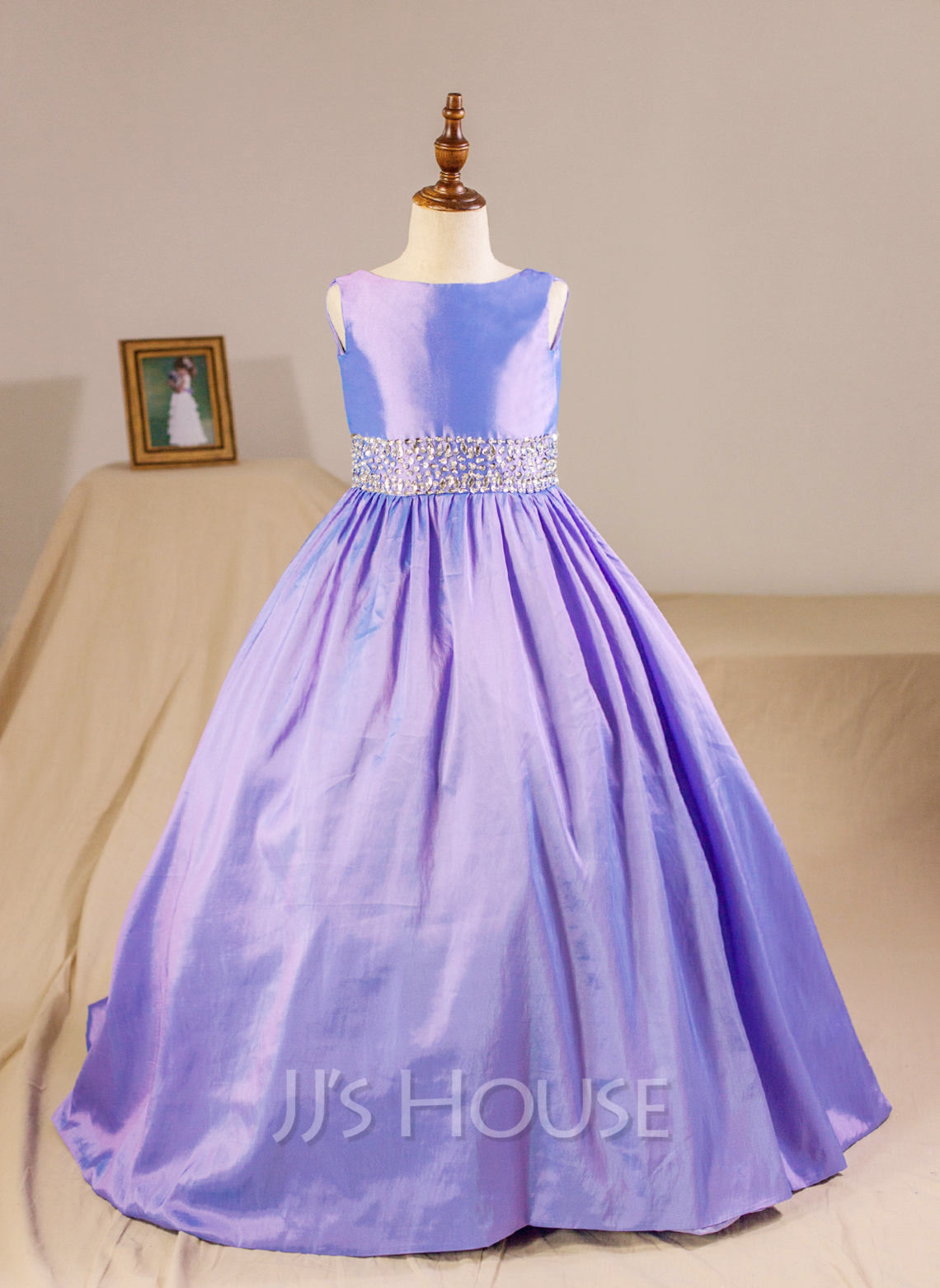 Ball Gown Floor-length Flower Girl Dress - Taffeta Sleeveless Scoop Neck With Beading (Petticoat NOT included)