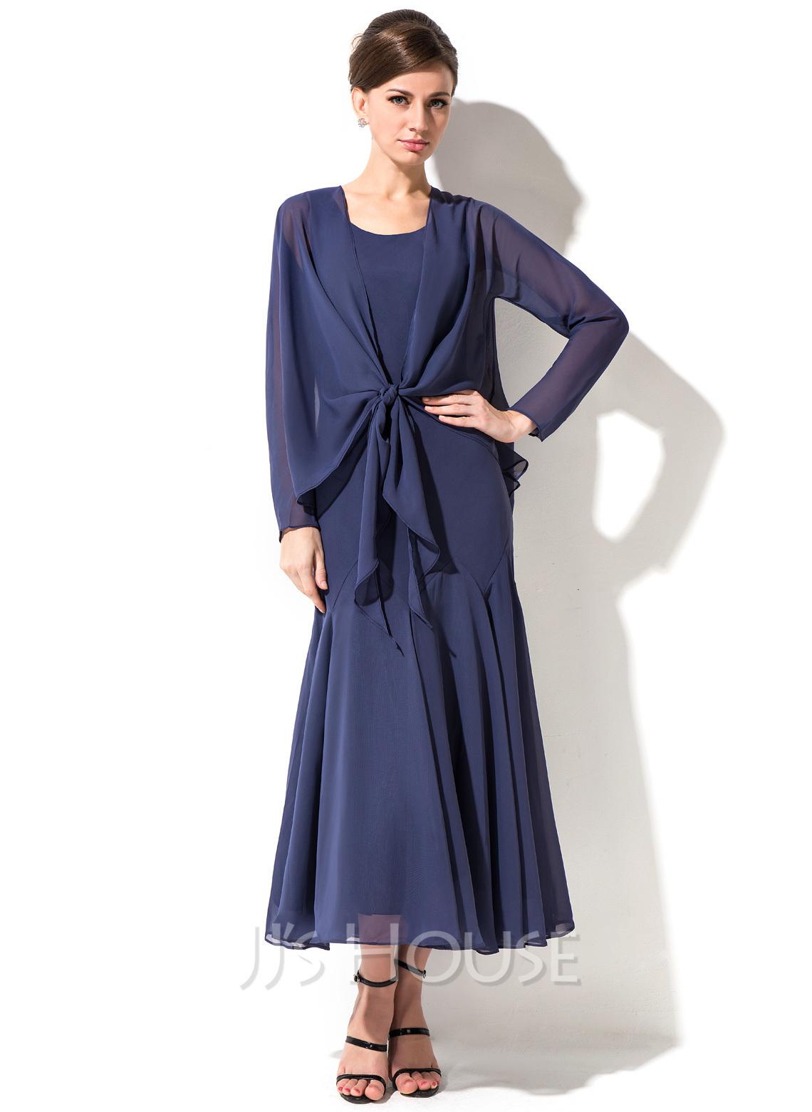 Trumpet/Mermaid Scoop Neck Tea-Length Chiffon Mother of the Bride Dress